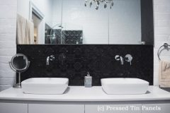 PressedTinPanels_Original Bathroom Splashback Gloss Black Basin