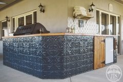 The bar was revamped with a dark blue paint