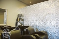 Salon feature wall showcases the Melbourne pattern