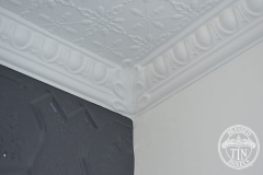 Pressed Tin Panels Acorn Ceiling and Egg & Darte Cornice featuring an Internal Leaf