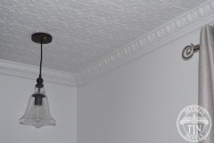 Pressed Tin Panels Acorn Ceiling and Egg & Darte Cornice light fitting
