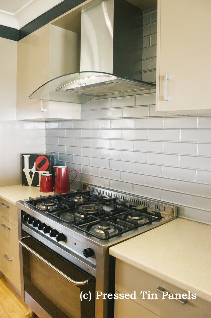 Brick Kitchen Mercury Silver Splash Back