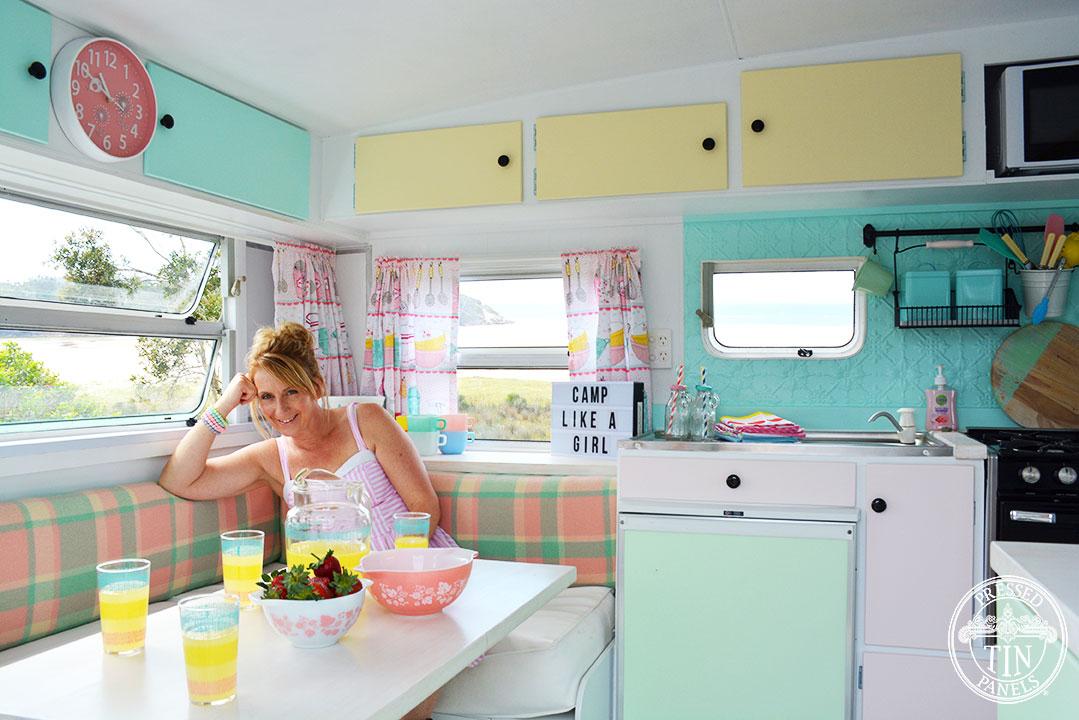 Karen in her renovated caravan