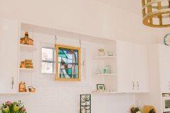 White kitchen splashback- Carnivale pattern