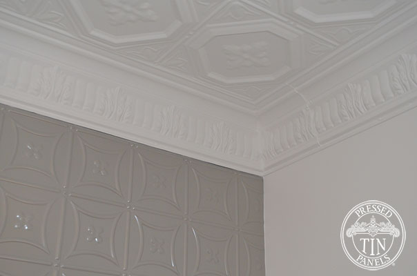 Pressed Tin Panels Carnivale Feature Wall Platypus Kinetic Pearl  Powder Coat and Harris Ceiling Close