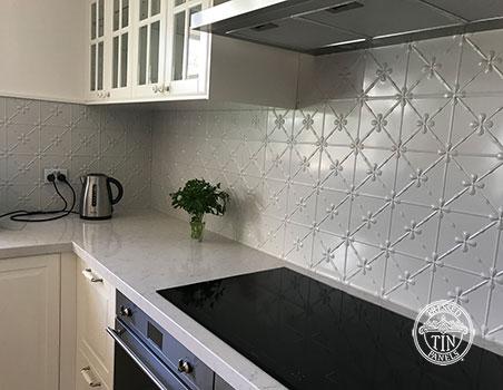 Pressed Tin Panels Clover Kitchen Splashback Mercury Silver Powder Coat Long