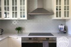 Pressed Tin Panels Clover Kitchen Splashback Mercury Silver Powder Coat Range Hood