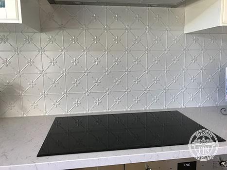 Pressed Tin Panels Clover Kitchen Splashback Mercury Silver Powder Coat Stove Top