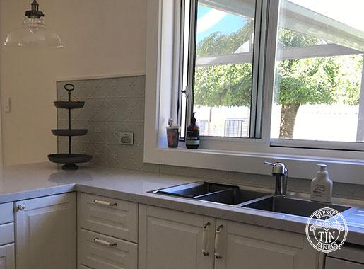 Pressed Tin Panels Clover Kitchen Splashback Mercury Silver Powder Coat Under Sink