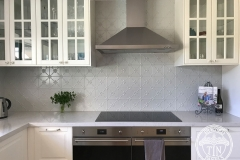 Pressed Tin Panels Clover Kitchen Splashback Mercury Silver Powder Coat