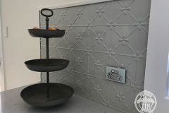 Pressed Tin Panels Clover Kitchen Splashback Mercury Silver Powder Coat Close