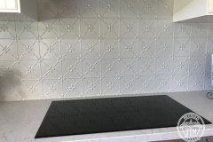 Pressed Tin Panels Clover Kitchen Splashback Mercury Silver Powder Coat Stove Top