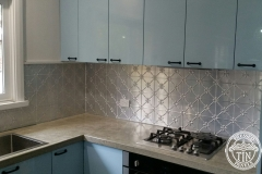 Pressed Tin Panels Clover Kitchen Splashback Raw Over head cabinetry