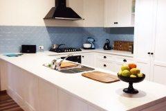 Kitchen Splashback in Clover pattern - Misty Blue