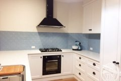 Kitchen Splashback in Clover pattern - Misty Blue