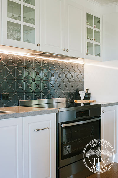 Pressed Tin Panels Clover Kitchen Splashback Steel Pearl oven