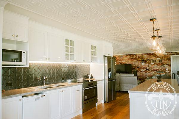Pressed Tin Panels Clover Kitchen Splashback Steel Pearl main
