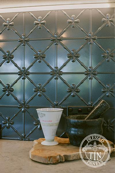 Pressed Tin Panels Clover Kitchen Splashback Steel Pearl Powder Coat close