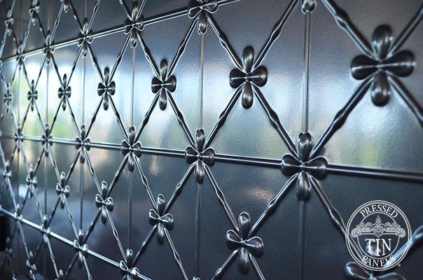 Pressed Tin Panels Clover Kitchen Splashback Steel Pearl Close