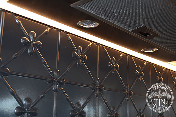 Pressed Tin Panels Clover Kitchen Splashback Steel Pearl range hood close