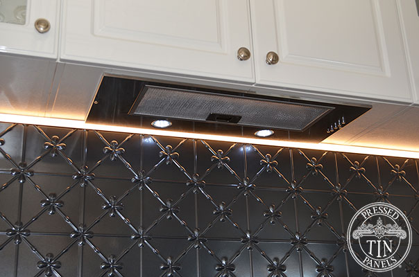 Pressed Tin Panels Clover Kitchen Splashback Steel Pearl range hood and over head cupboards