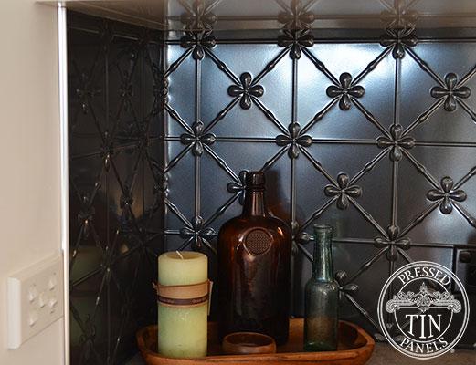 Pressed Tin Panels Clover Kitchen Splashback Steel Pearl corner