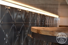 Pressed Tin Panels Clover Counter Front Steel Pearl Strip Lighting