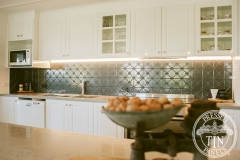 Pressed Tin Panels Clover Kitchen Splashback Steel Pearl