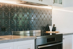 Pressed Tin Panels Clover Kitchen Splashback Steel Pearl oven