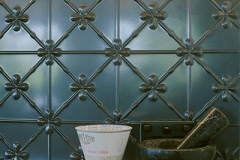 Pressed Tin Panels Clover Kitchen Splashback Steel Pearl Powder Coat close