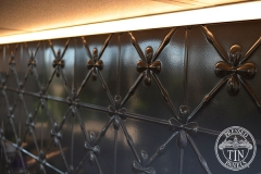 Pressed Tin Panels Clover Kitchen Splashback Steel Pearl strip lighting