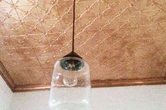 Clover pattern & Small Plain Cornice in Copper - bathroom ceiling