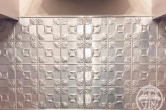 Pressed Tin Panels Evans Kitchen Splashback Raw Close