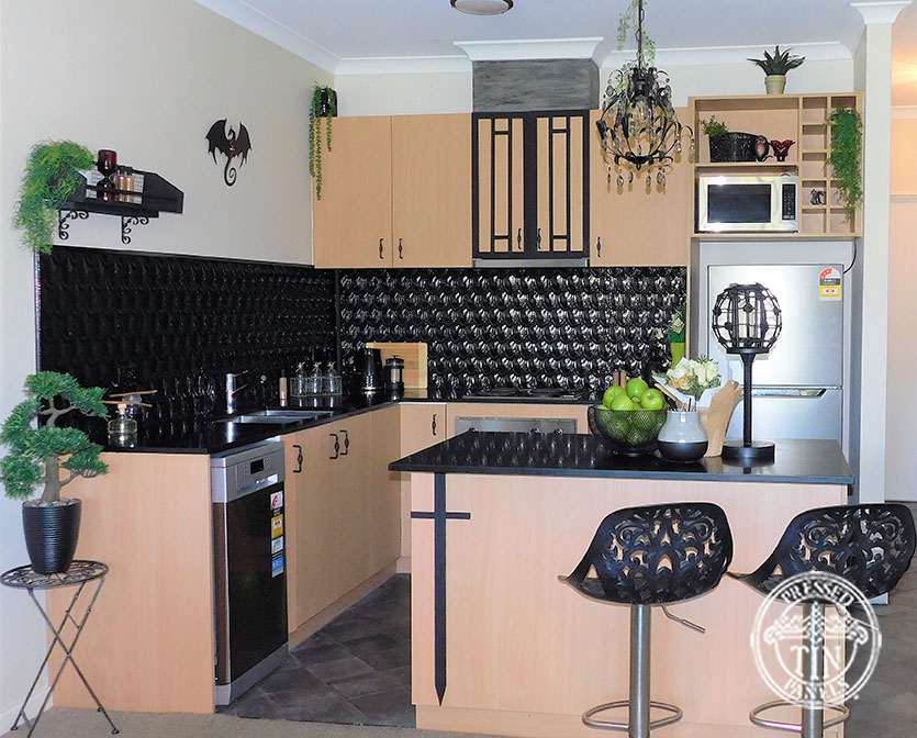 Pressed Tin Panels Fish Scale Kitchen Splashback Black Gloss