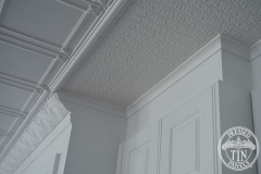 Pressed Tin Panels Maddington Ceiling, Small Rough Cast and Macquarie Cornice Corners