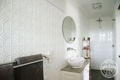 Pressed Tin Panels Mudgee Bathroom  Dulux Classic White Powder Coat Shower Recess