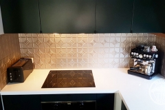 Pressed Tin Panels Mudgee Kitchen Splashback Copper Kinetic Pearl Stove Top