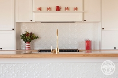 Pressed Tin Panels Original Kitchen Splashback  and Counter Front Feature Bright White CLose