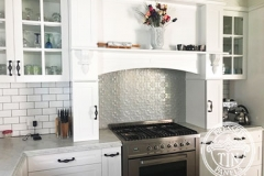Pressed Tin Panels Original Kitchen Splashback Stove Top Feature Mercury Silver
