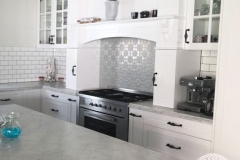 Pressed Tin Panels Original Kitchen Splashback Stove Top Feature  with Range Hood Mercury Silver