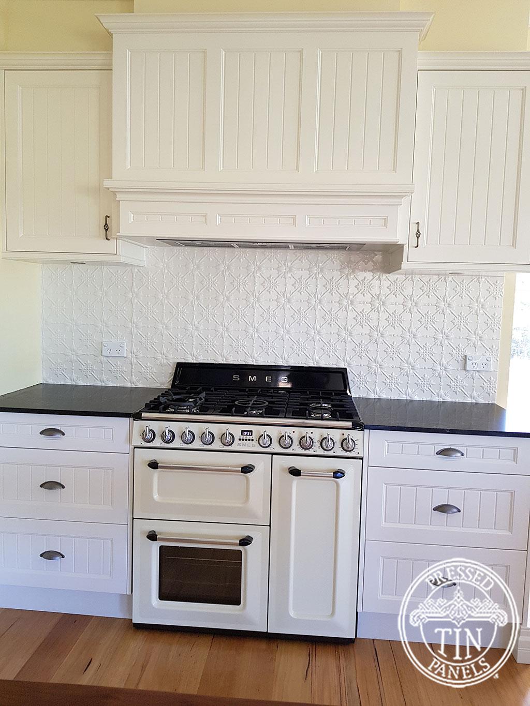 Pressed Tin Panels Original Kitchen Splashback Shoji White Powder Coat range Hood