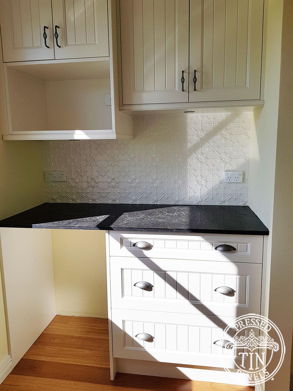 Pressed Tin Panels Original Kitchen Splashback Shoji White Powder Coat Section