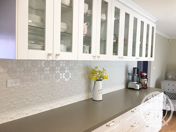 Pressed Tin Panels Original Kitchen Splashback Shoji White Powder Coat Length
