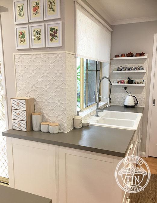 Pressed Tin Panels Original Kitchen Splashback Shoji White Powder Coat Corner