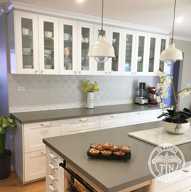 Pressed Tin Panels Original Kitchen Splashback Shoji White Powder Coat Wide