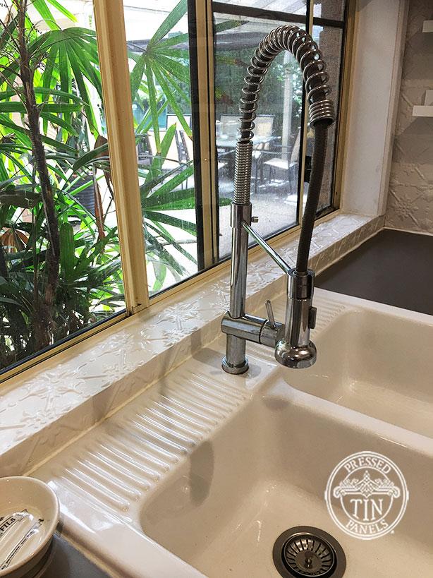 Pressed Tin Panels Original Kitchen Splashback Shoji White Powder Coat Under Window