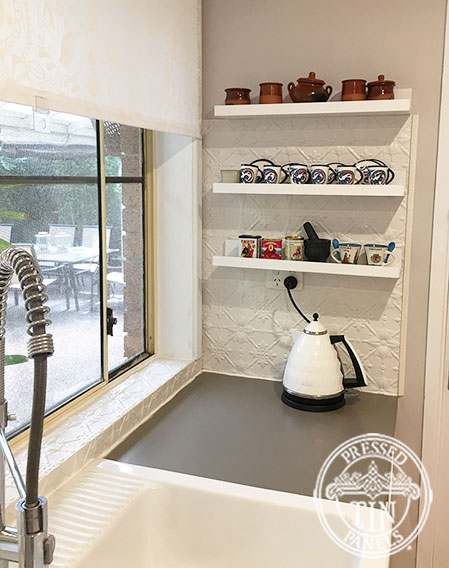 Pressed Tin Panels Original Kitchen Splashback Shoji White Powder Coat Window Frame