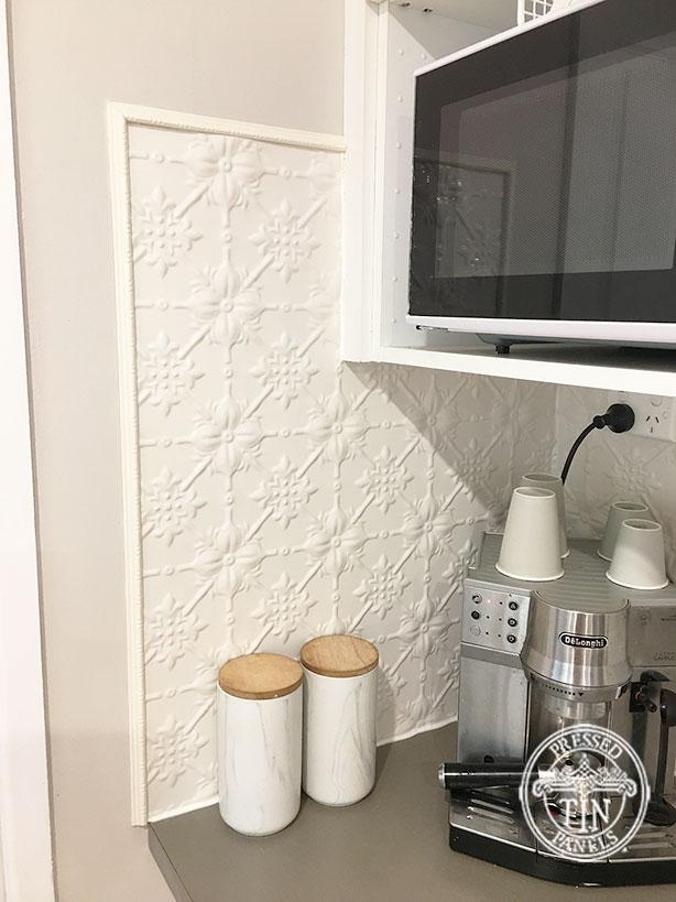 Pressed Tin Panels Original Kitchen Splashback Shoji White Powder Coat Tile Edging