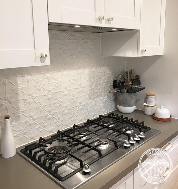 Pressed Tin Panels Original Kitchen Splashback Shoji White Powder Coat Stove Top Close