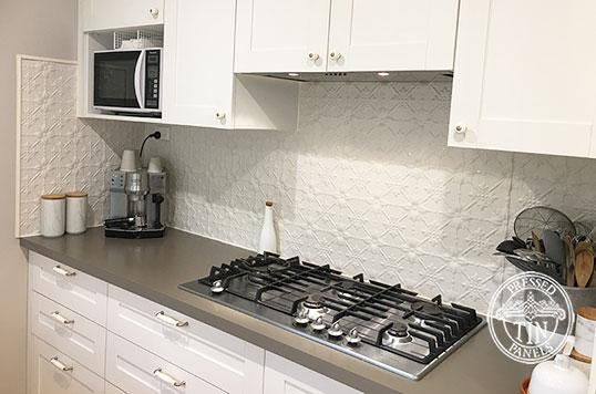 Pressed Tin Panels Original Kitchen Splashback Shoji White Powder Coat Stove Top